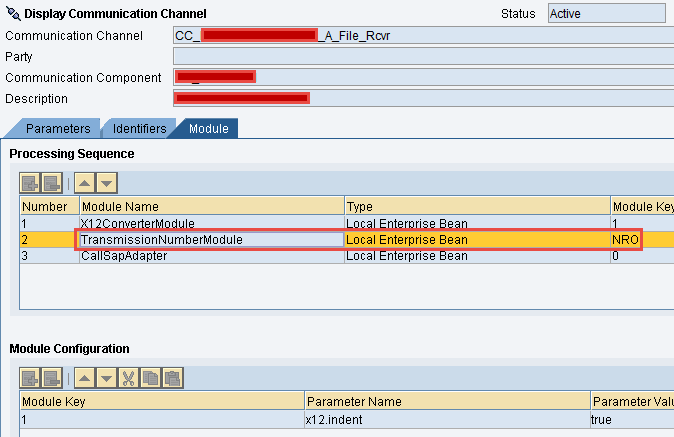 Configure Receiver Communication Channel with 'TransmissionNumberModule'