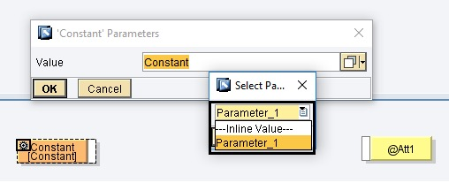 Select parameter name from the 'Constant' element settings drop down list. Mapping Import Parameter 'Parameter_1', select parameter name from drop down of content element
