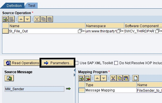 Click Message Mapping parameters under Definition tab