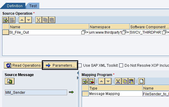 Select Parameters in Operation Mapping definition tab ESR
