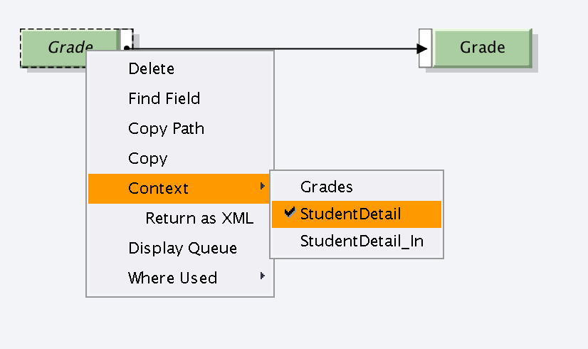 Change the Context of the element to 'StudentDetail' level. Right click on element and select Context.