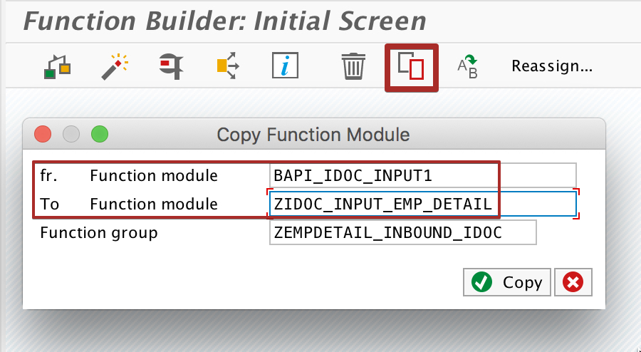 Copy inbound iDoc processing function module to custom z function module.