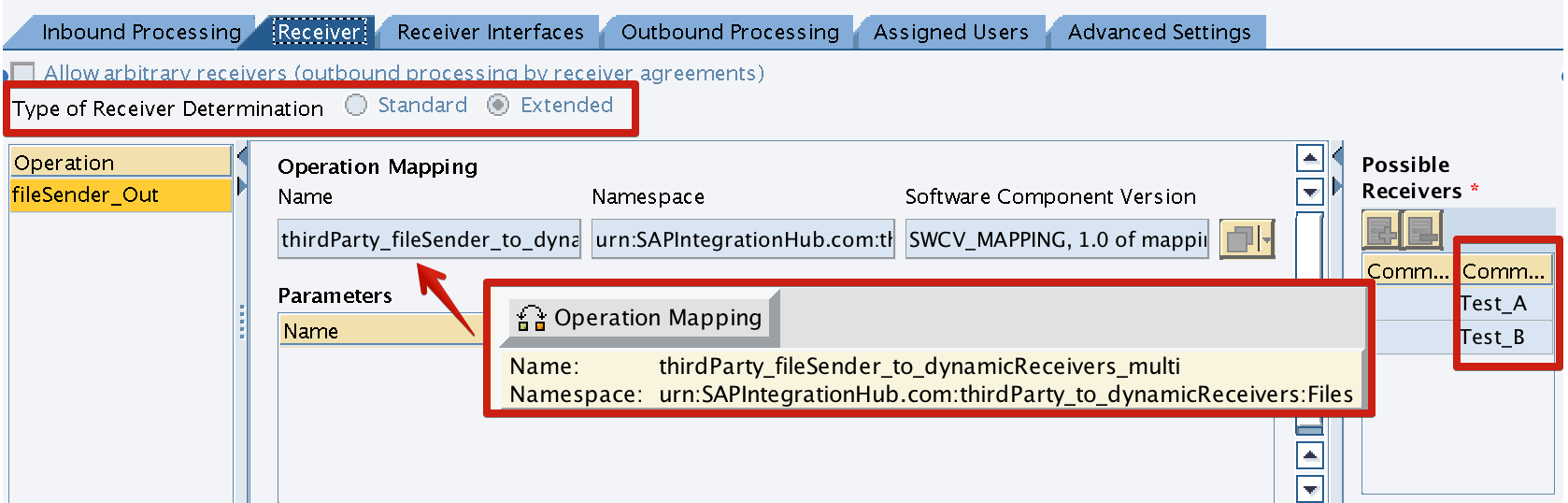 Integration Configuration Object Type of Receiver Determination - Extended