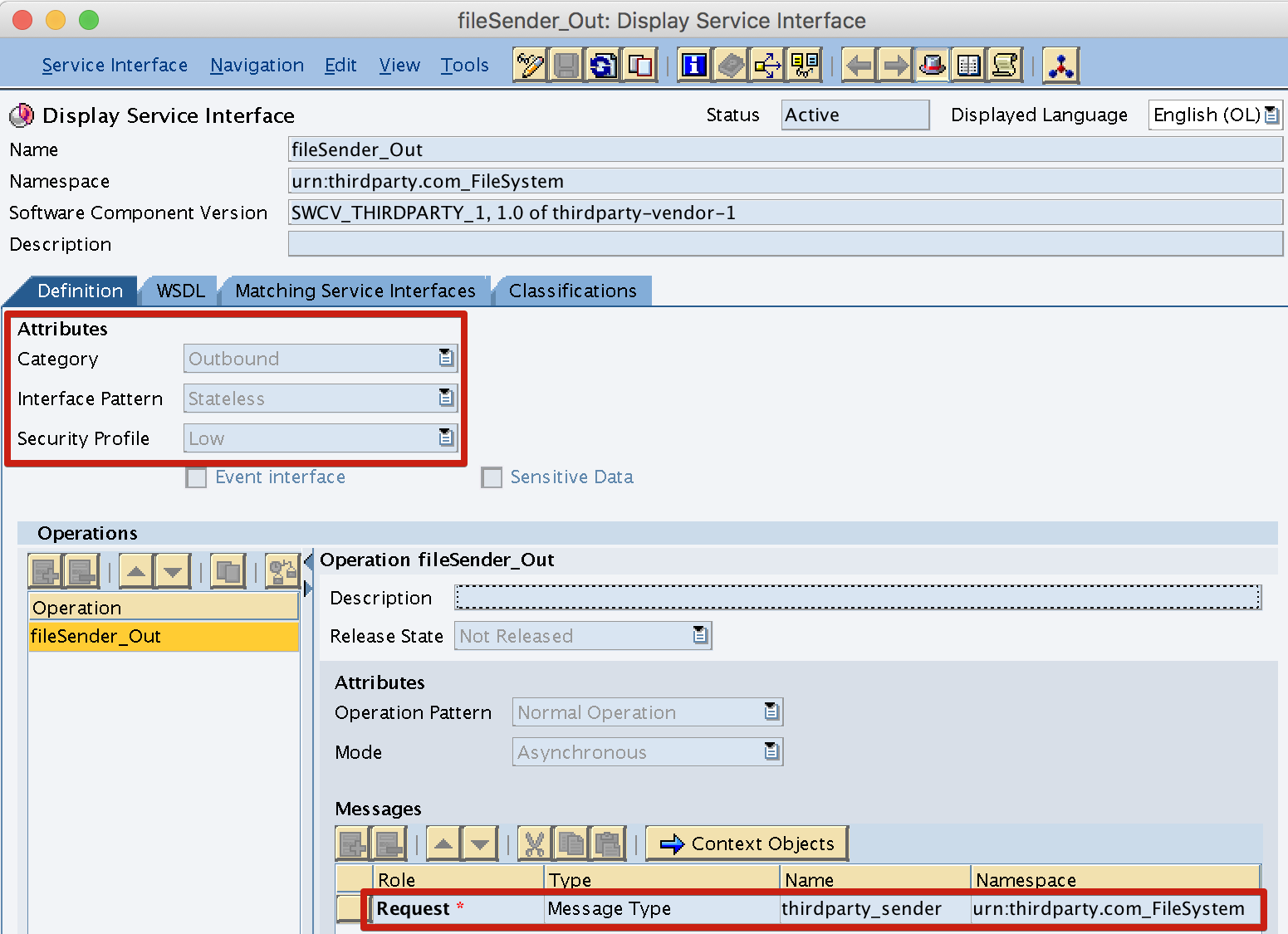Outbound Service Interface with sender Message Type attached