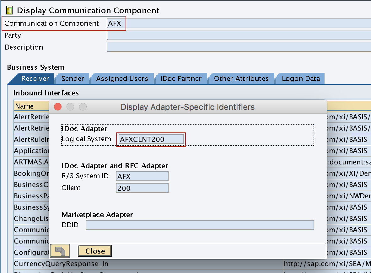 "Logical System name of the receiver SAP Business System ""AFX"" under Adapter Specific Message Attributes (ASMA)"
