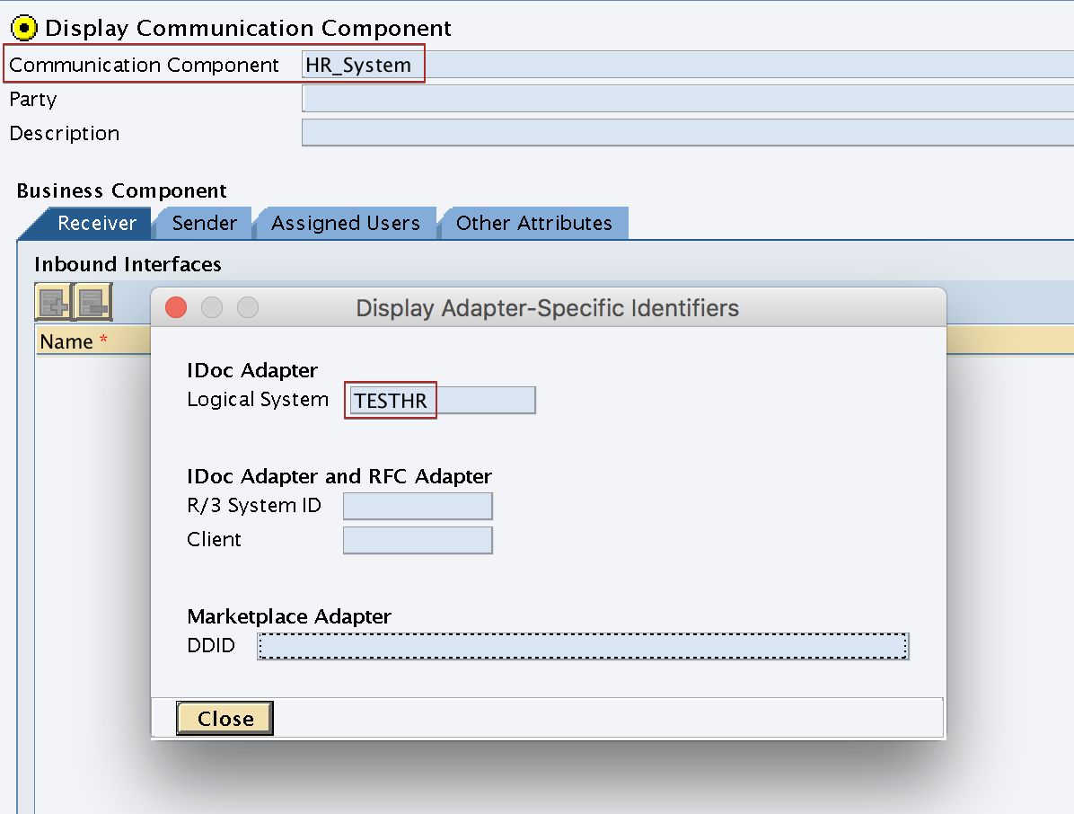 "Logical System name of the sender Business Component ""HR_System"" under Adapter Specific Message Attributes (ASMA)"