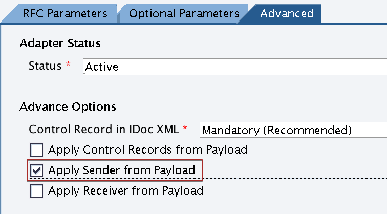 Activate 'Apply Sender from Payload' in receiver iDoc_AAE adapter