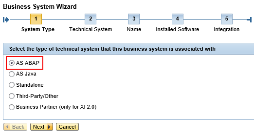 Select System Type as 'AS ABAP' from Business System creation wizard