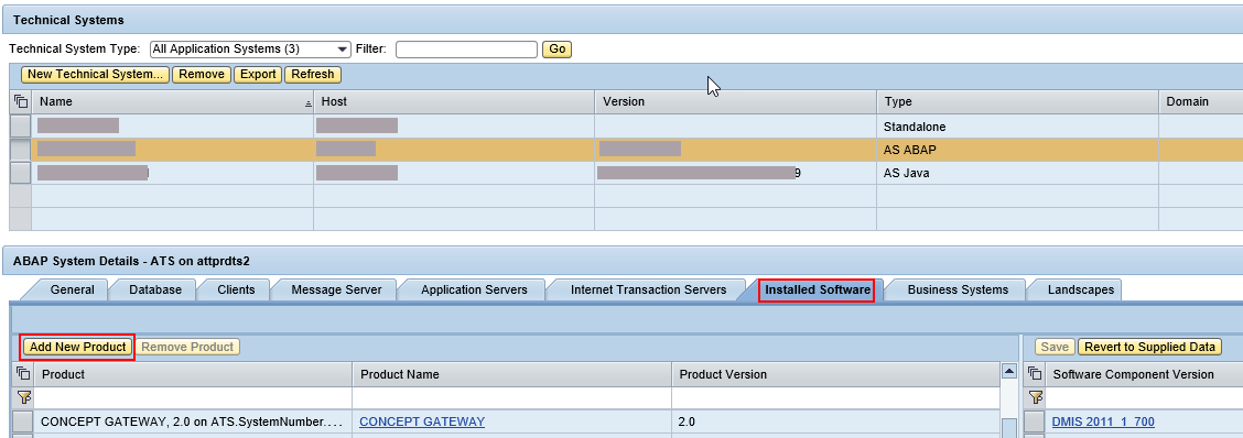 Select Add new product under 'Installed Software' tab of the Technical System