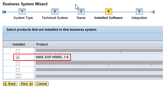 Select Products and Software Component Versions that should be assigned to Business System