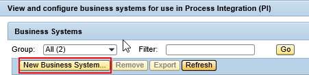 Select option Create New Business System