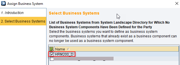 Select Business System created in SLD from the list to import to ID
