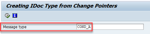 Create iDocs from Change Pointers using program  RBDMIDOC . Selection parameter Message Type of program assigned with COND_A idoc type.