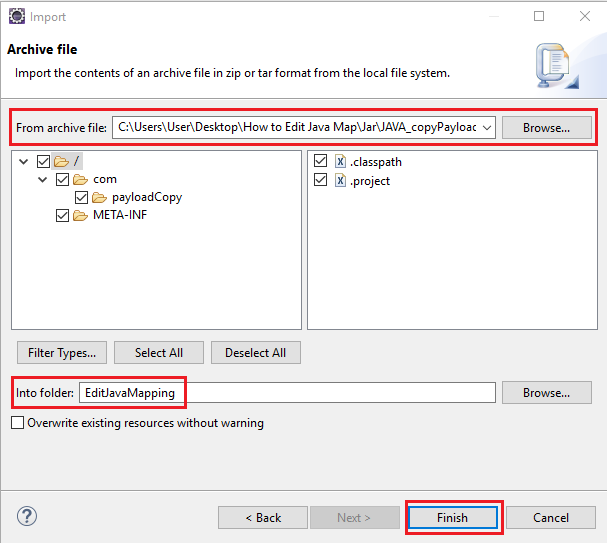 Select content of Archive file to be imported in NWDS