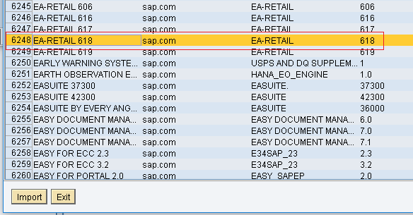 Select the EA-RETAIL Software Component Version to ESR from SLD SWCV list