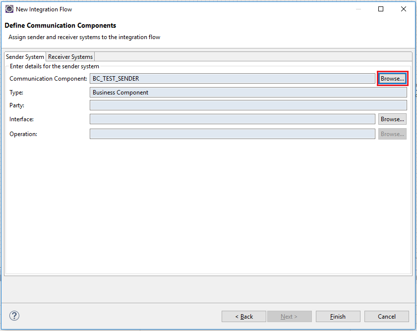 Select Sender and Receiver Systems related to iFlow