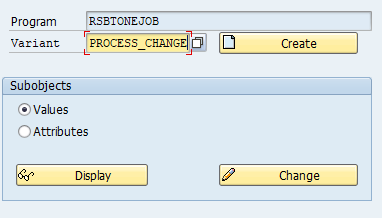 Create a variant for program RSBTONEJOB using se38.