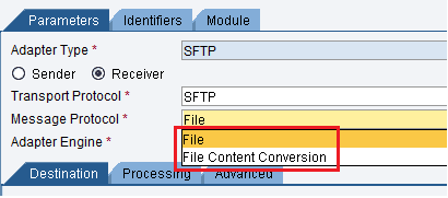 Message protocol configuration of sFTP Adapter in SAP PI/PO