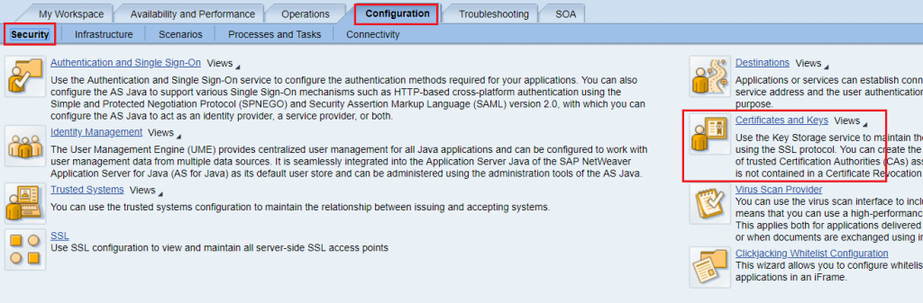 Configuration and installation of Certificates and keys.