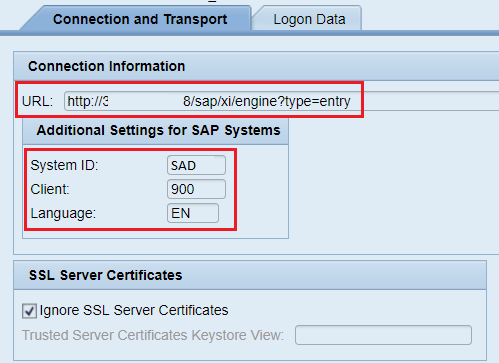 Connection and Transport detail. URL, System ID, Client and Language parameters in the HTTPm destination creation wizard in SAP PI NWA.
