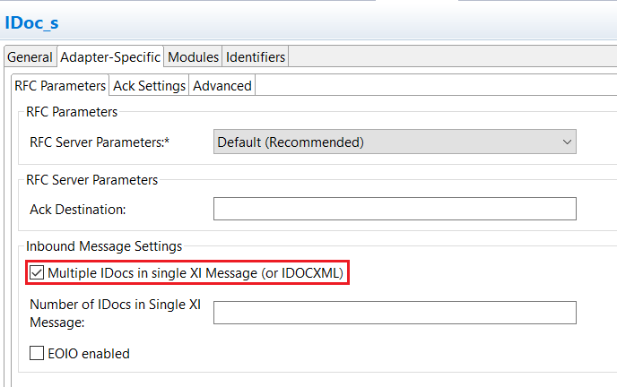 iDoc sender adapter Communication Channel Configuration with multiple iDocs in single XI message.