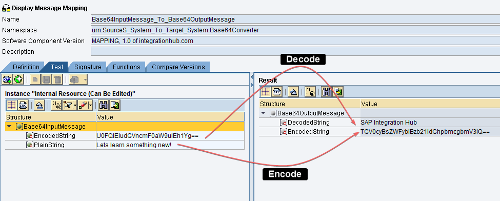 base64 encoding and decoding using UDFs example. Example Overview: Functionality of the UDFs and expected result. Graphical mapping tool test.
