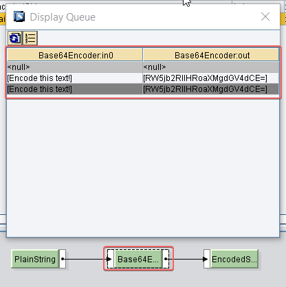 Base64 encoder UDF display queue in graphical mapping in ESR