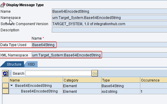 Output Message Type for base65 java mapping