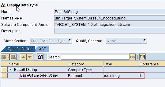 Output Data Type for base65 java mapping