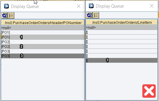 Incorrect assignment of input 1 and input 2 of UseOneas Many. Context changes are not equal.