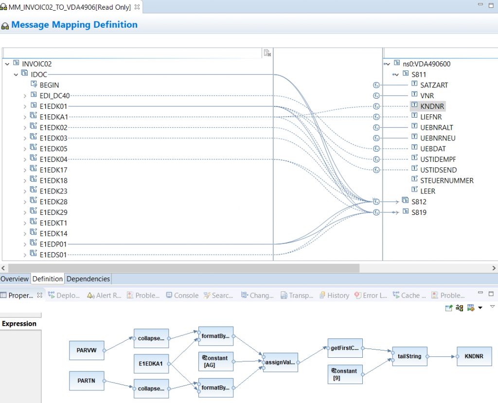 Graphical Message Mapping program in NWDS ESR perspective for SAP PI PO development