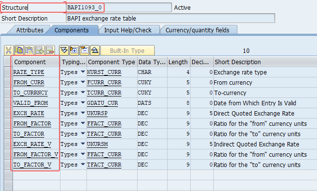 DDIC data type of Exch_rate parameter of the BAPI