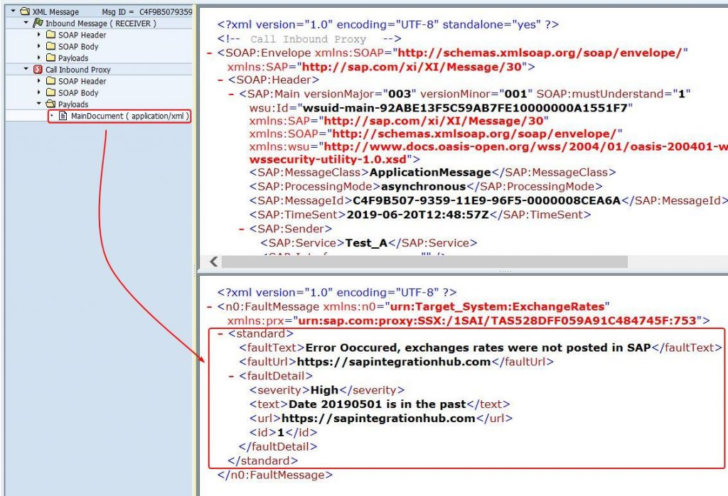 Fault Message data displayed in SXMB_MONI under main document section of proxy message