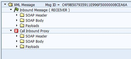 SXMB_MONI XML message navigation tree with inbound message and proxy return messages.
