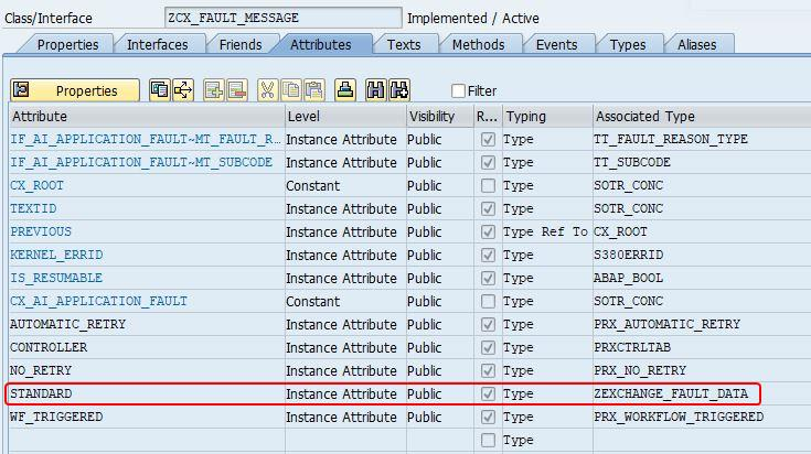 Fault Message DDIC structure in SAP back-end system under zcx_fault_message class in transaction se24.