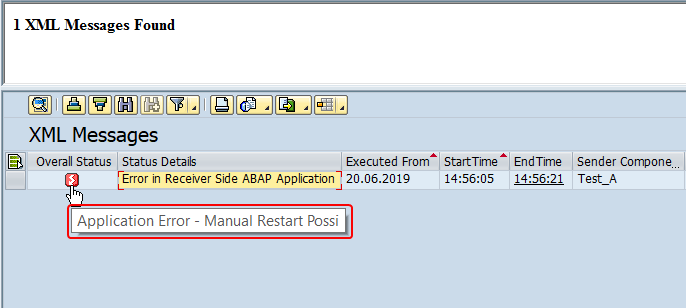 Message overall status in SXMB_MONI initial screen. Application error with manual restart possible status