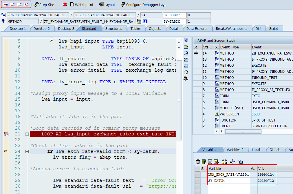 Debug screen of SAP with variables and values
