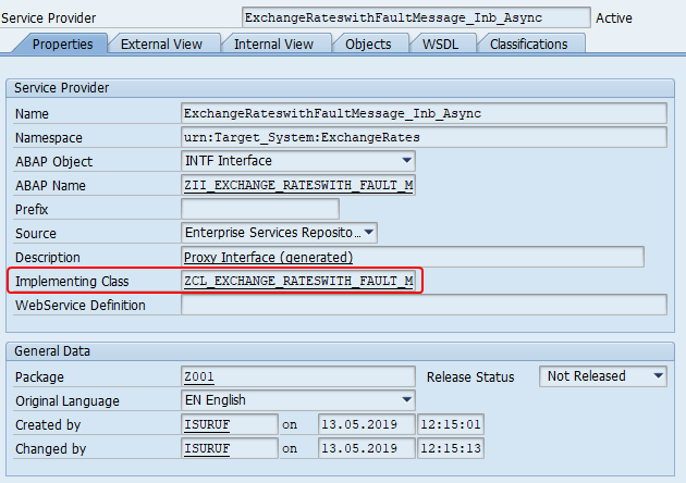 Implementing class of Service Provider in SAP back-end in SPROXY transaction