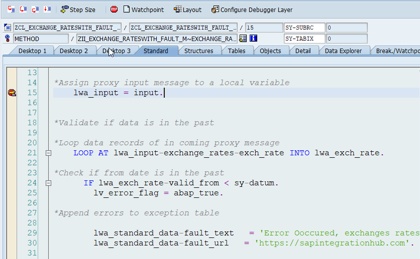External debugging breakpoint activated in SAP