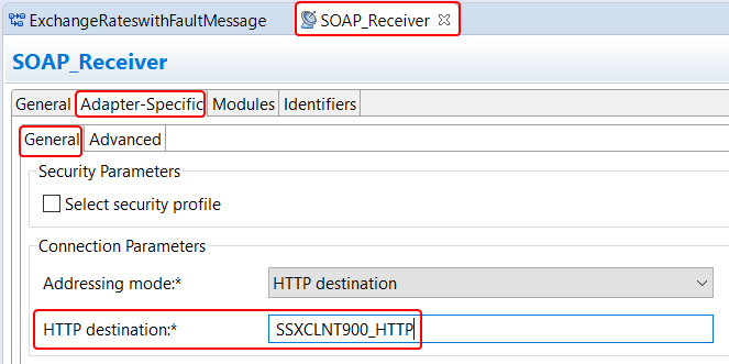 Receiver Proxy (SOAP) Communication Channel Adapter Specific attributes with HTTP destination assigned