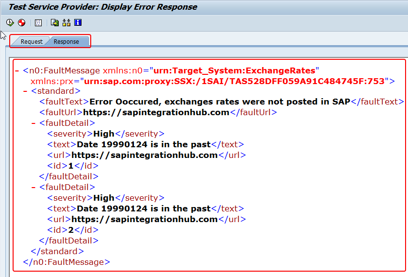 Response of the ABAP proxy with Fault messages shown as XML in SPROXY test tool
