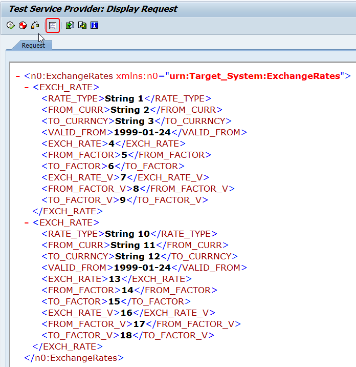 Edit XML input of the ABAP proxy inbound message by clicking the edit XML
