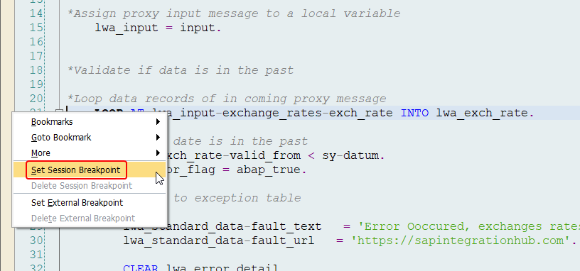 Right click on the left side of the ABAP editor to set a session break point in SAP ABAP proxy