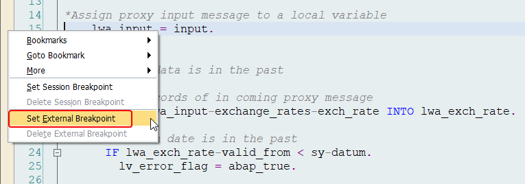 Settings the External Breakpoint in ABAP editor