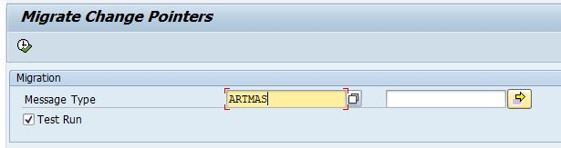 Selection screen of Change Pointers migrating program -  RBDCPMIG_ALL_WITHOUT_MIG_FLAG in transaction se38 assigned with selection screen parameter Message Type.