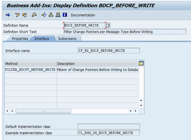 BADI definition BDCP_BEFORE_WRITE in transaction se18. Filtering of change pointers before writing to database