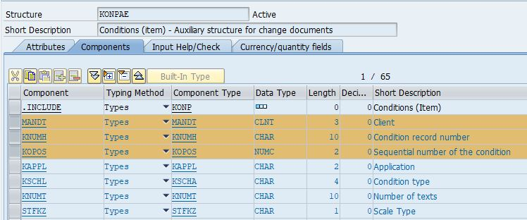 Price conditions items master data structure KONPAE with key fields client, condition record number and sequential number of the condition highlighted.
