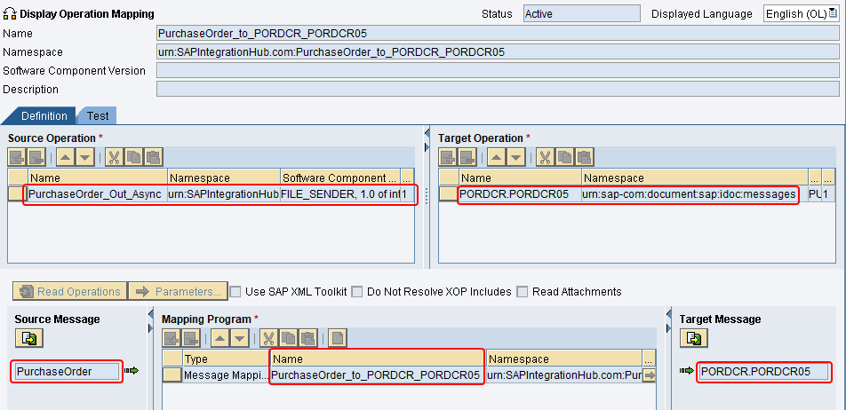 Operation mapping of PurchaseOrder_Out_Async to iDoc created in ESR