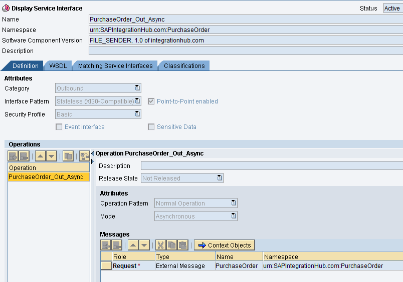 EDI file sender outbound service interface PurchaseOrder_Out_Async
