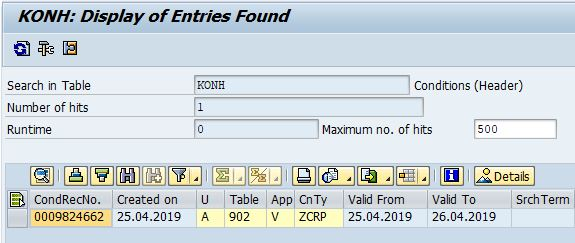 Master data entry updated by Change Pointers - Conditions Header (KONH) in transaction se16n